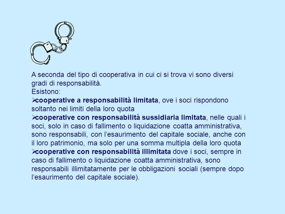 A seconda del tipo di cooperativa in cui ci si trova vi sono diversi gradi di responsabilità. Esistono: