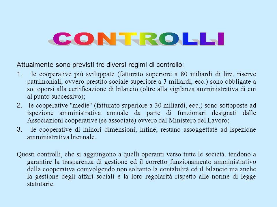 CONTROLLI Attualmente sono previsti tre diversi regimi di controllo: