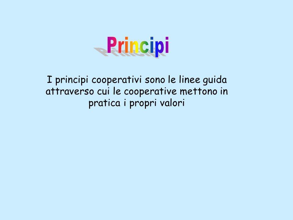Principi I principi cooperativi sono le linee guida attraverso cui le cooperative mettono in pratica i propri valori.