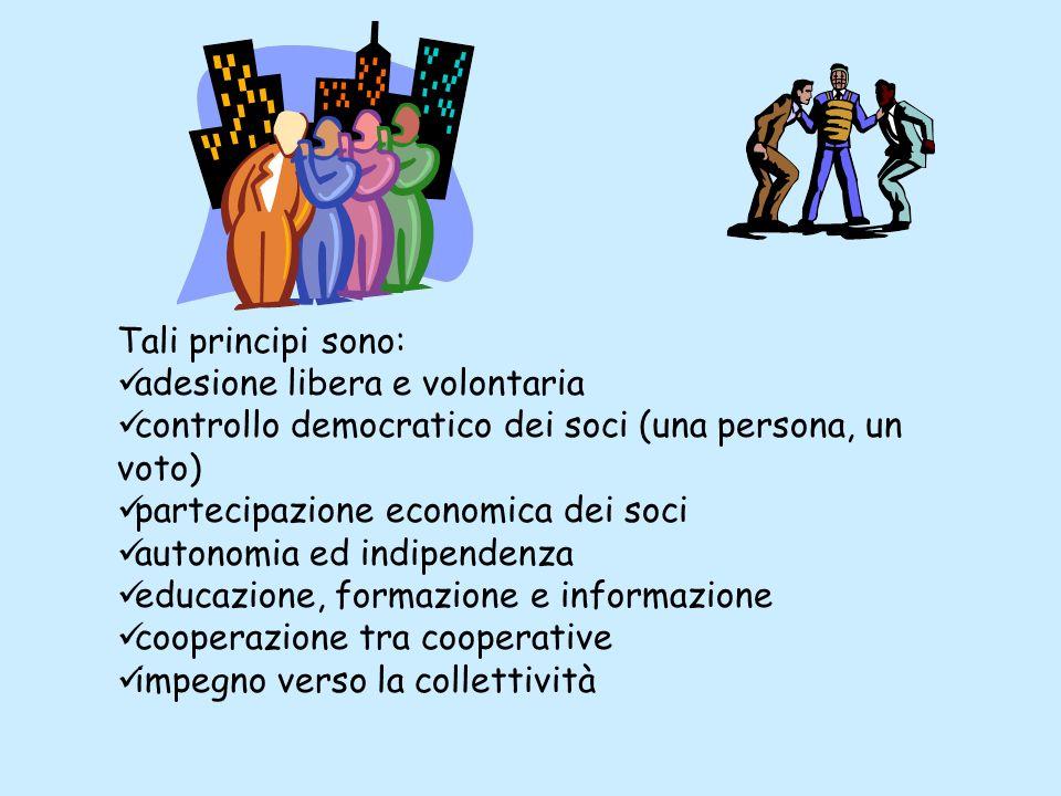 Tali principi sono: adesione libera e volontaria. controllo democratico dei soci (una persona, un voto)
