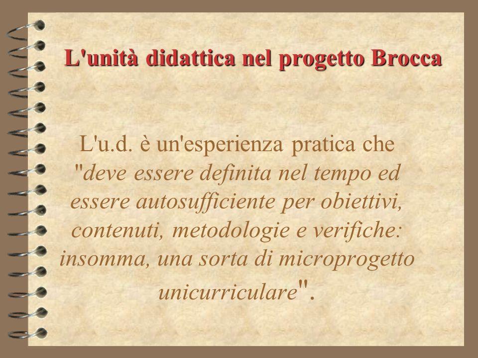 L unità didattica nel progetto Brocca