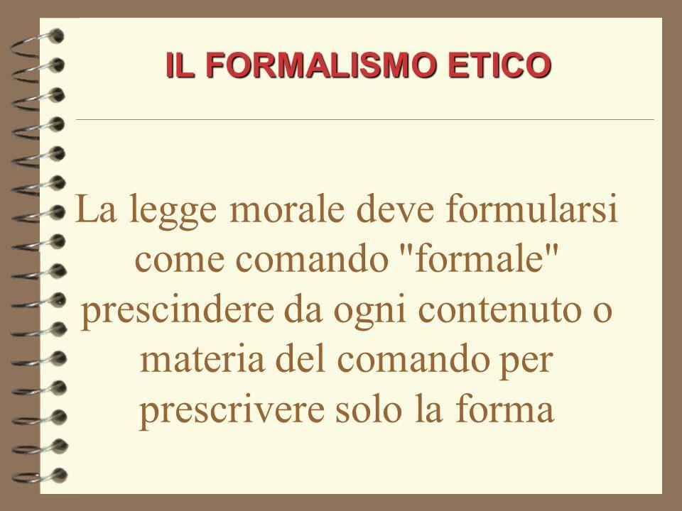 IL FORMALISMO ETICO
