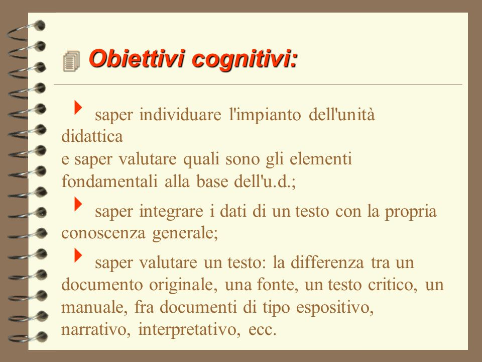 Obiettivi cognitivi: