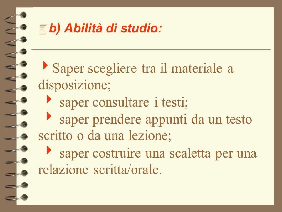 b) Abilità di studio: