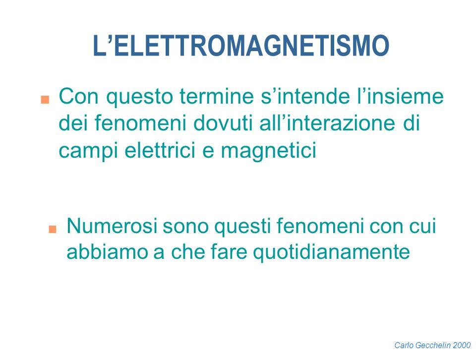 L'ELETTROMAGNETISMO Con questo termine s'intende l'insieme dei fenomeni dovuti all'interazione di campi elettrici e magnetici.