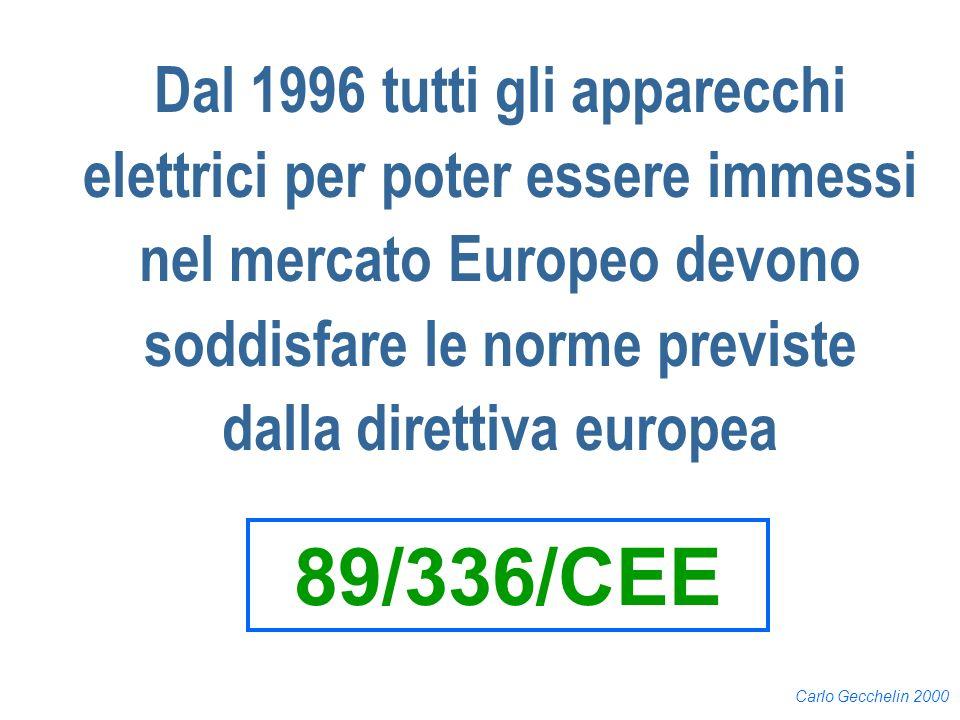 Dal 1996 tutti gli apparecchi elettrici per poter essere immessi nel mercato Europeo devono soddisfare le norme previste dalla direttiva europea