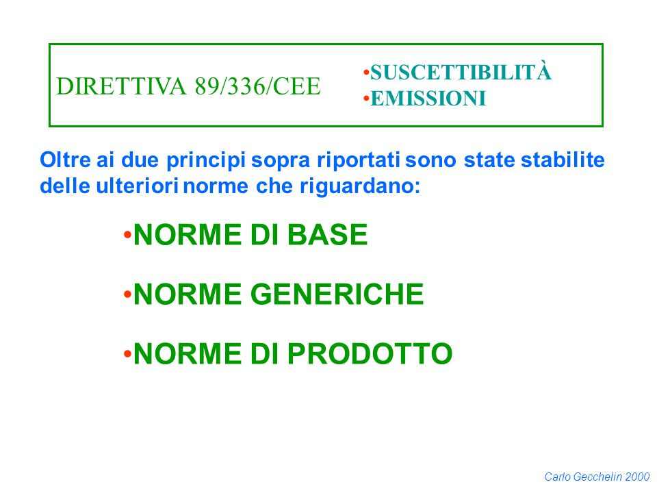 NORME DI BASE NORME GENERICHE NORME DI PRODOTTO DIRETTIVA 89/336/CEE
