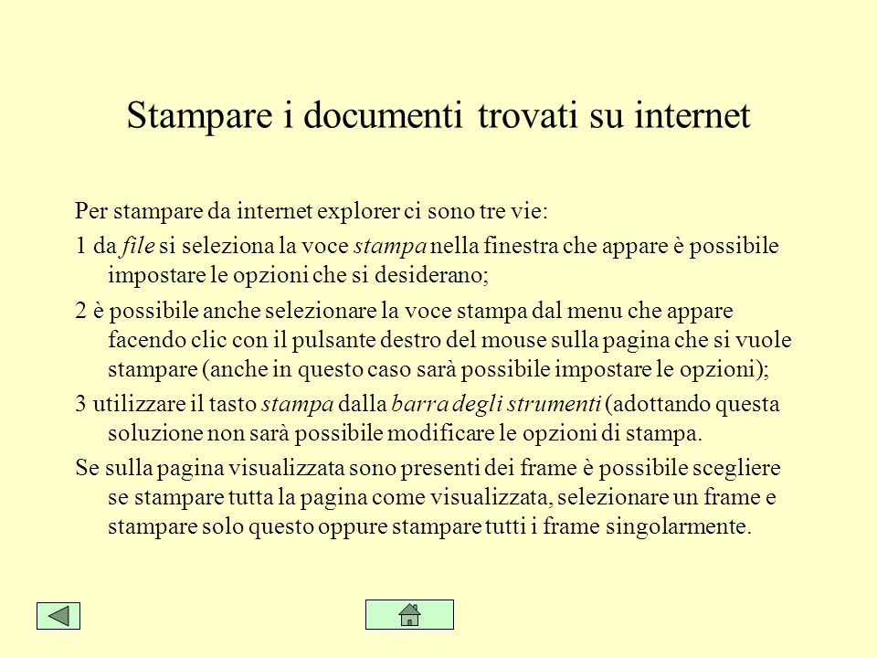 Stampare i documenti trovati su internet