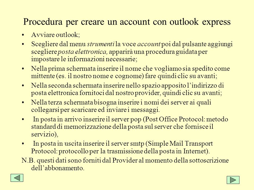 Procedura per creare un account con outlook express