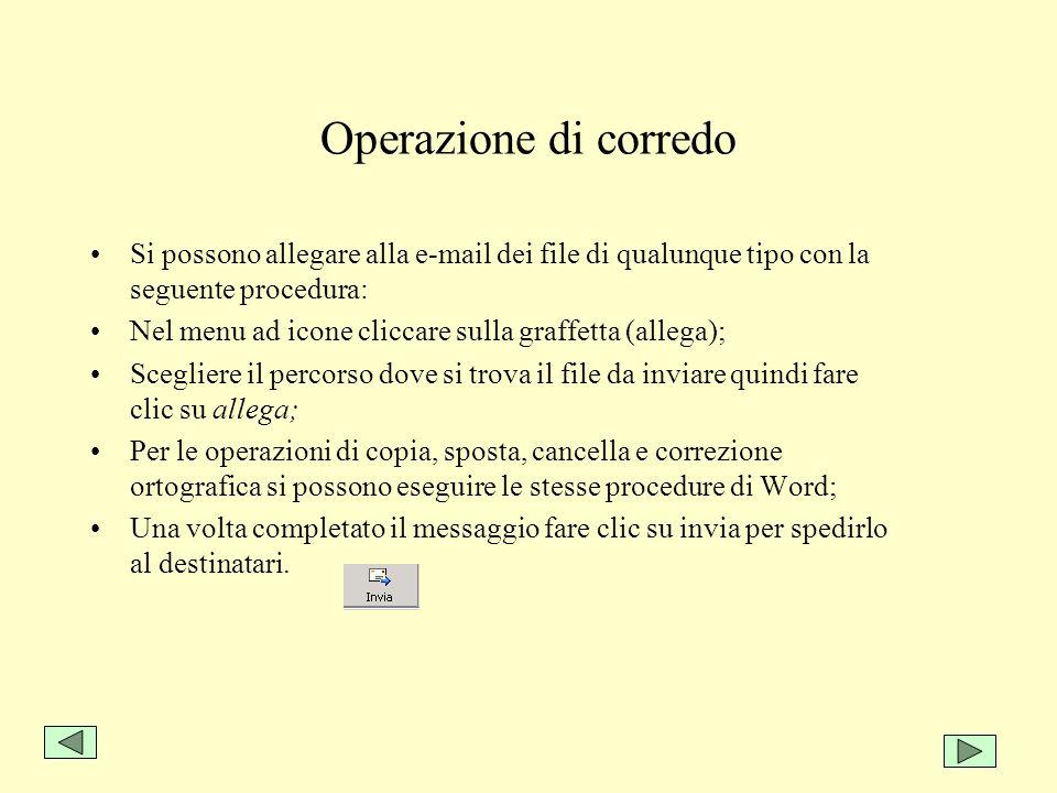 Operazione di corredo Si possono allegare alla e-mail dei file di qualunque tipo con la seguente procedura: