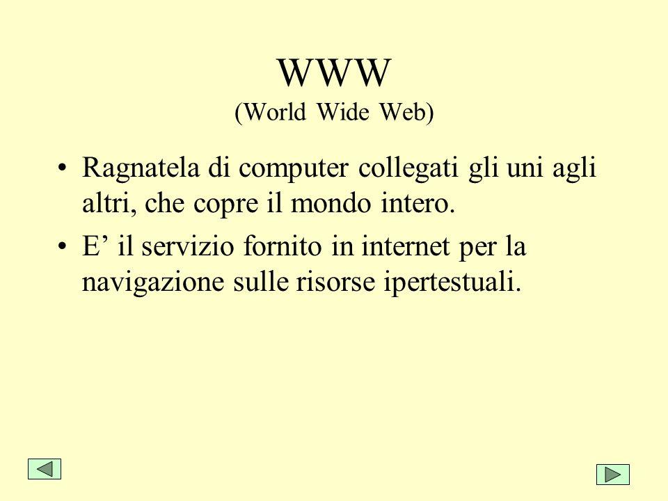 WWW (World Wide Web) Ragnatela di computer collegati gli uni agli altri, che copre il mondo intero.