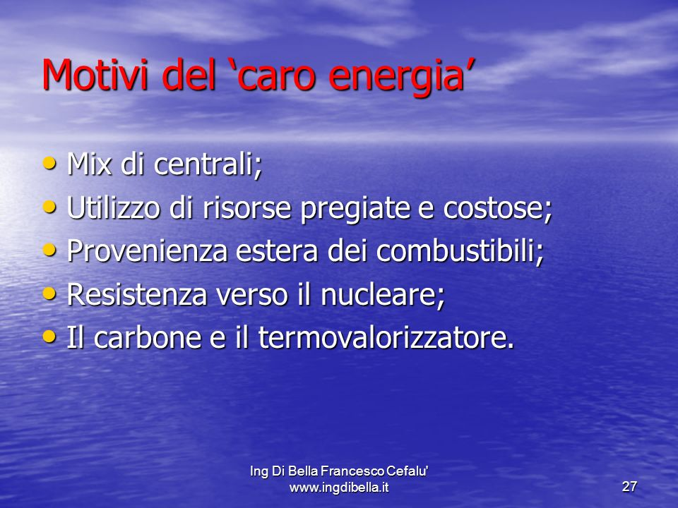 Motivi del 'caro energia'