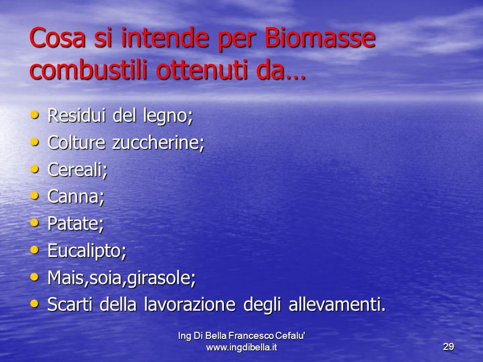 Cosa si intende per Biomasse combustili ottenuti da…