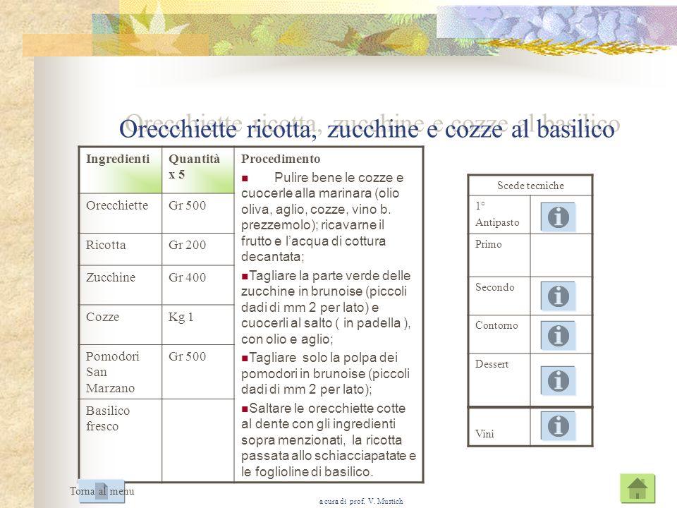 Orecchiette ricotta, zucchine e cozze al basilico