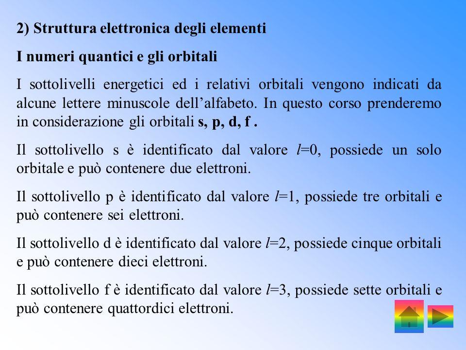 2) Struttura elettronica degli elementi