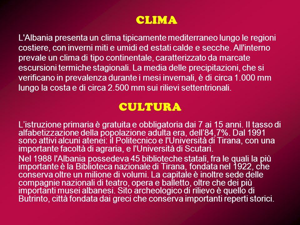 CLIMA L Albania presenta un clima tipicamente mediterraneo lungo le regioni costiere, con inverni miti e umidi ed estati calde e secche. All interno prevale un clima di tipo continentale, caratterizzato da marcate escursioni termiche stagionali. La media delle precipitazioni, che si verificano in prevalenza durante i mesi invernali, è di circa 1.000 mm lungo la costa e di circa 2.500 mm sui rilievi settentrionali.