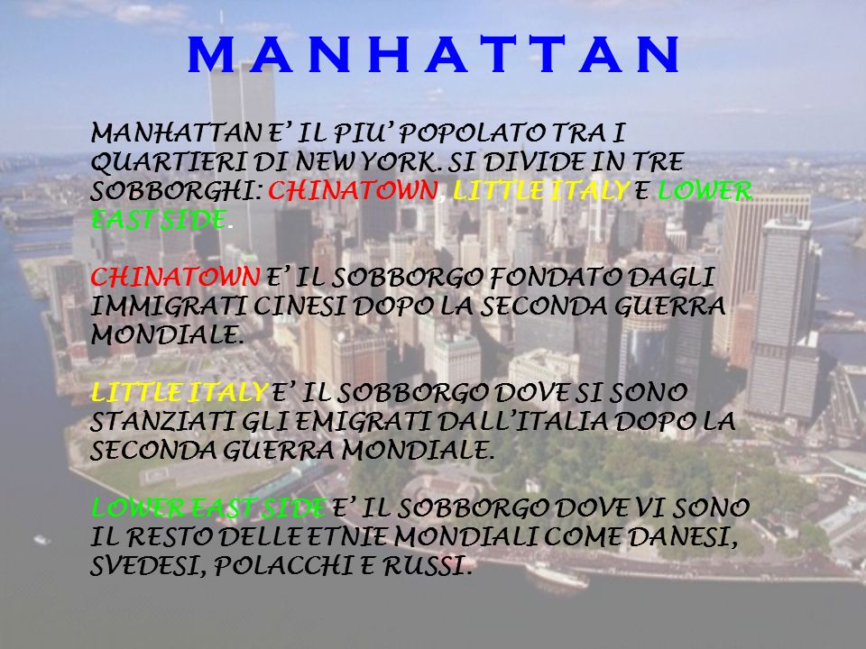 M A N H A T T A N MANHATTAN E' IL PIU' POPOLATO TRA I QUARTIERI DI NEW YORK. SI DIVIDE IN TRE SOBBORGHI: CHINATOWN, LITTLE ITALY E LOWER EAST SIDE.