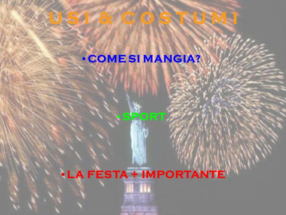 U S I & C O S T U M I COME SI MANGIA SPORT LA FESTA + IMPORTANTE