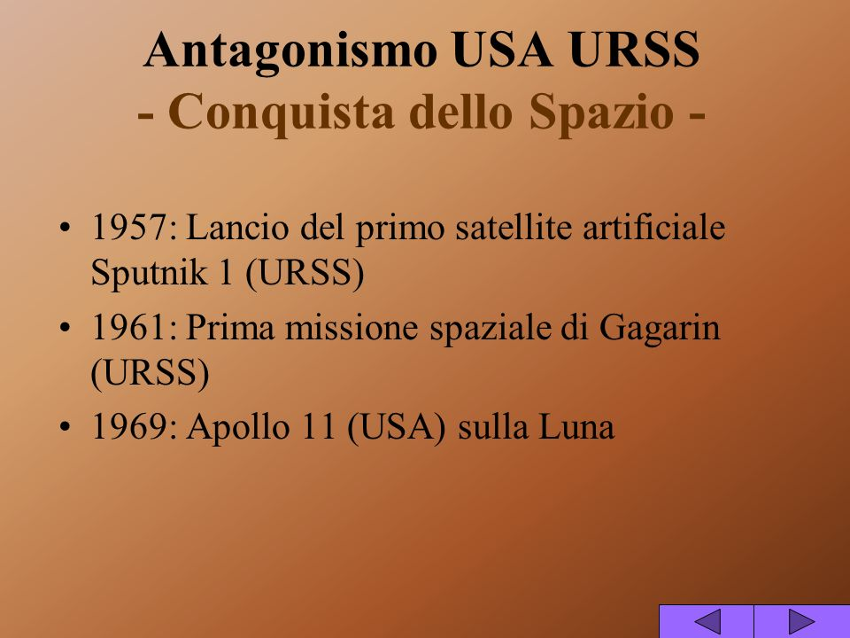 Antagonismo USA URSS - Conquista dello Spazio -