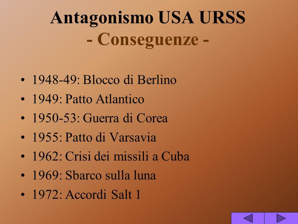 Antagonismo USA URSS - Conseguenze -