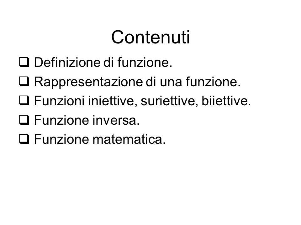 Contenuti Definizione di funzione. Rappresentazione di una funzione.