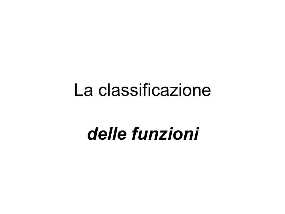La classificazione delle funzioni