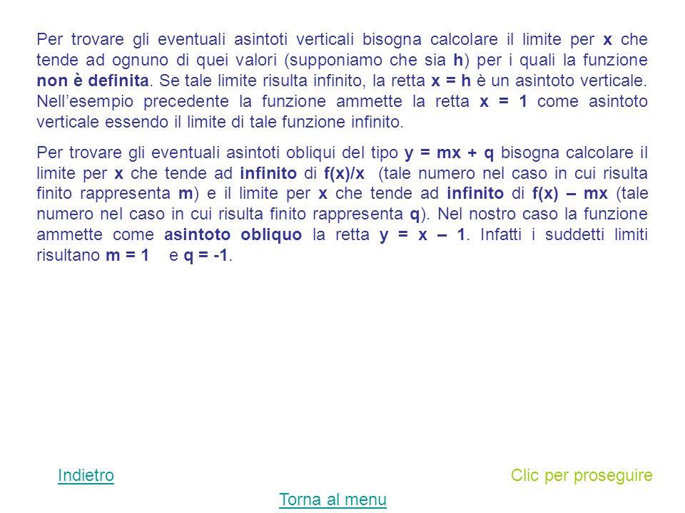 Per trovare gli eventuali asintoti verticali bisogna calcolare il limite per x che tende ad ognuno di quei valori (supponiamo che sia h) per i quali la funzione non è definita. Se tale limite risulta infinito, la retta x = h è un asintoto verticale. Nell'esempio precedente la funzione ammette la retta x = 1 come asintoto verticale essendo il limite di tale funzione infinito.