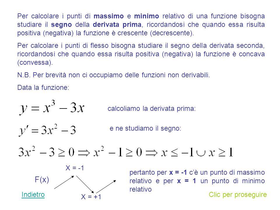 Per calcolare i punti di massimo e minimo relativo di una funzione bisogna studiare il segno della derivata prima, ricordandosi che quando essa risulta positiva (negativa) la funzione è crescente (decrescente).