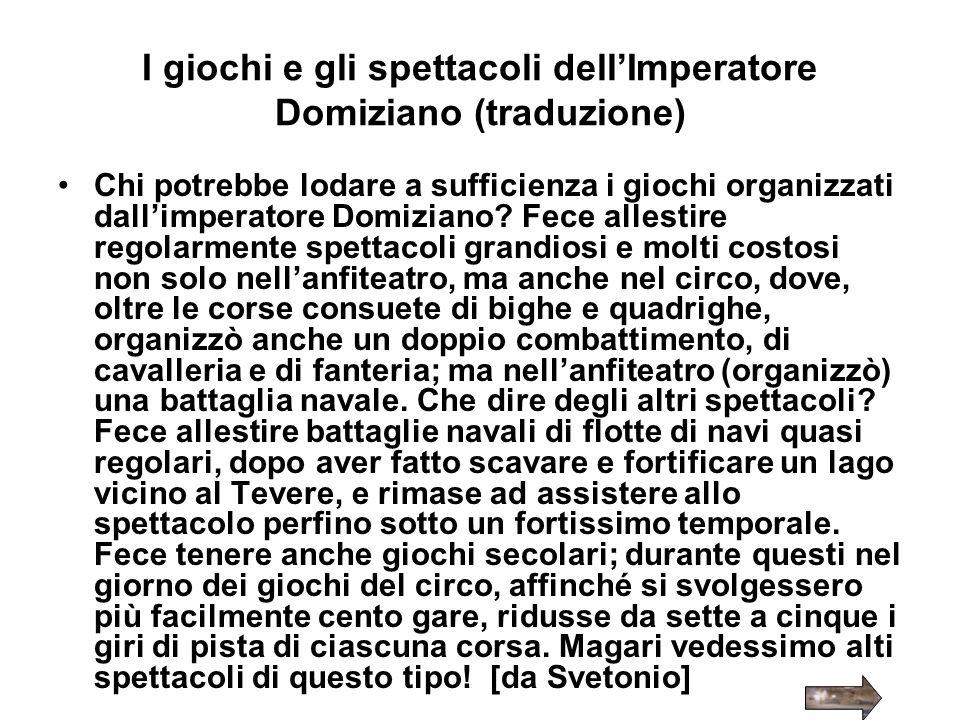 I giochi e gli spettacoli dell'Imperatore Domiziano (traduzione)