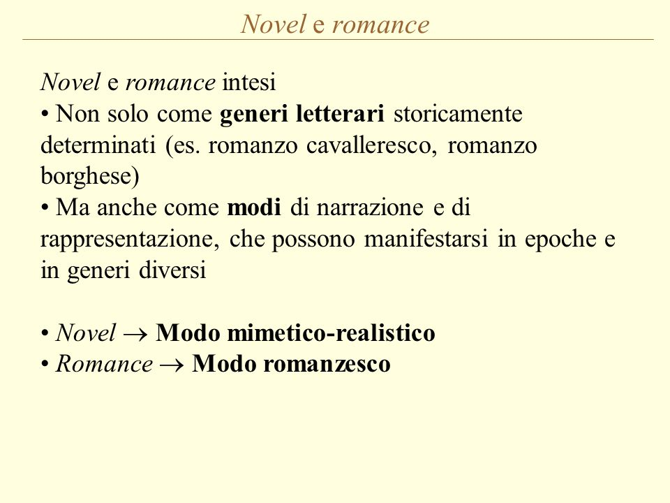 Novel e romance Novel e romance intesi