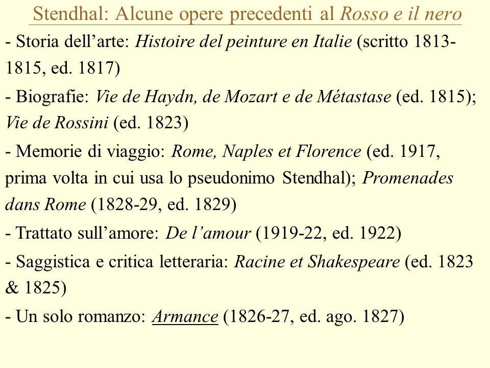 Stendhal: Alcune opere precedenti al Rosso e il nero