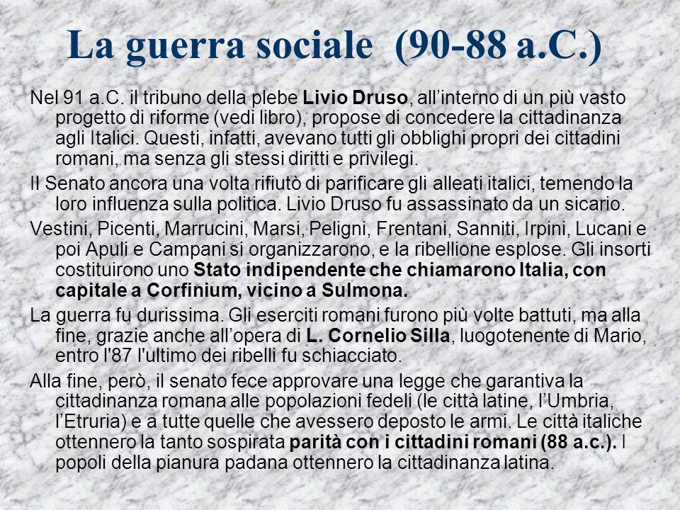 La guerra sociale (90-88 a.C.)