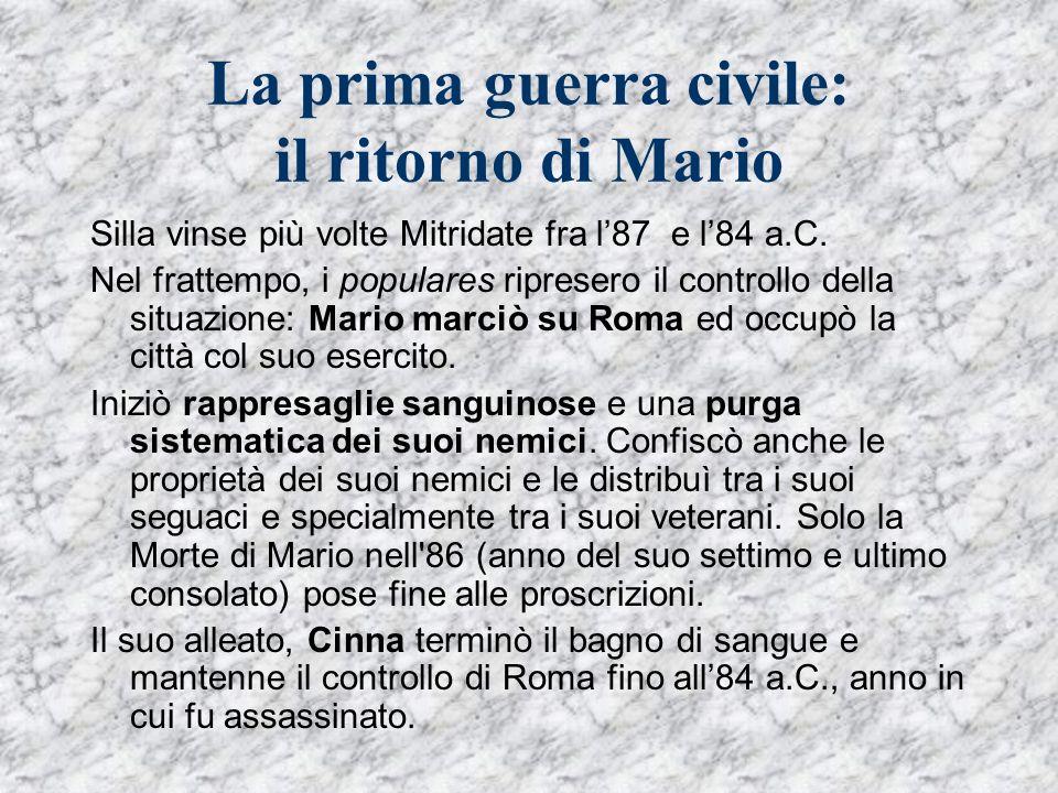 La prima guerra civile: il ritorno di Mario