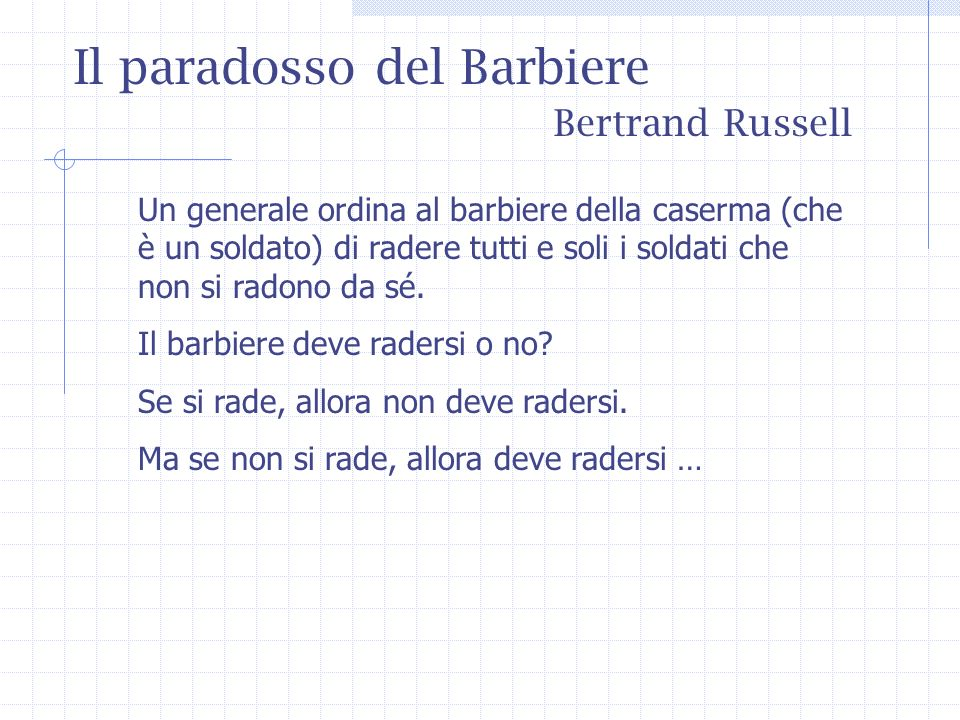 Il paradosso del Barbiere Bertrand Russell