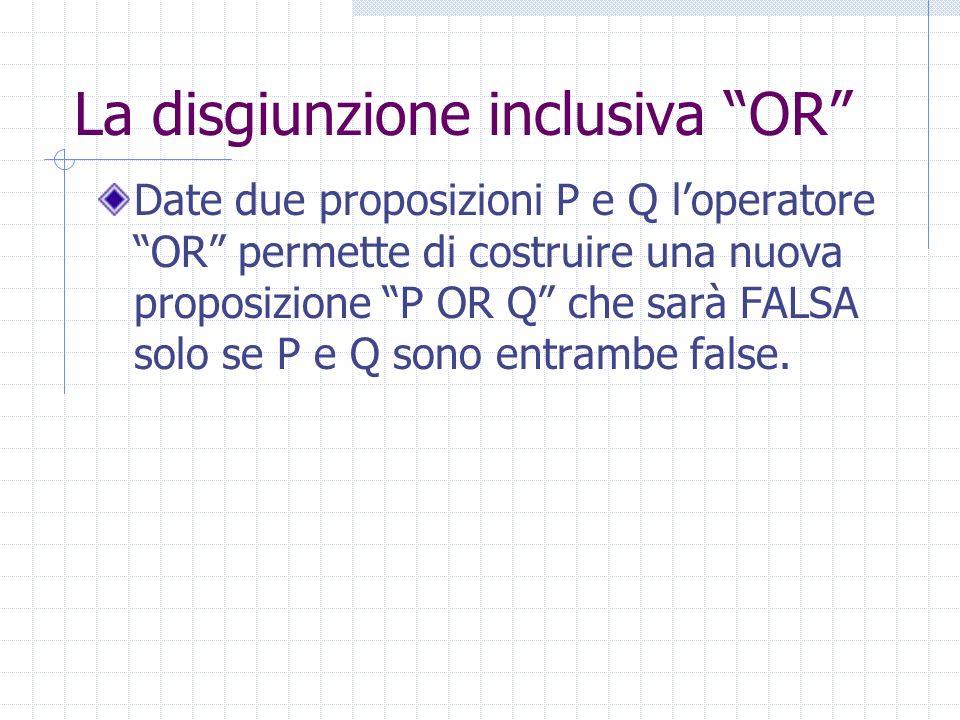 La disgiunzione inclusiva OR