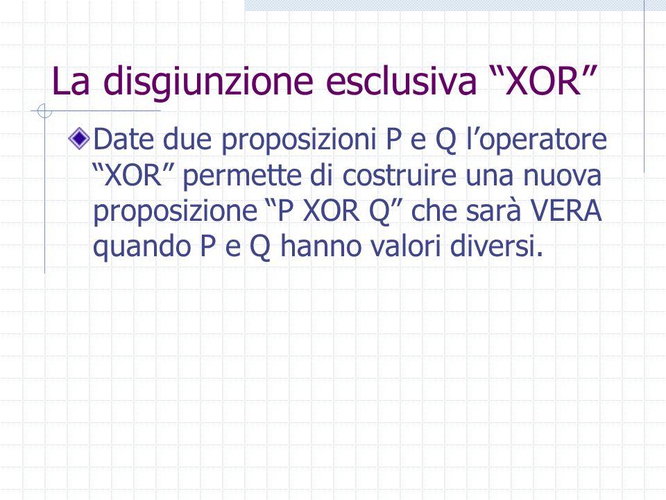 La disgiunzione esclusiva XOR