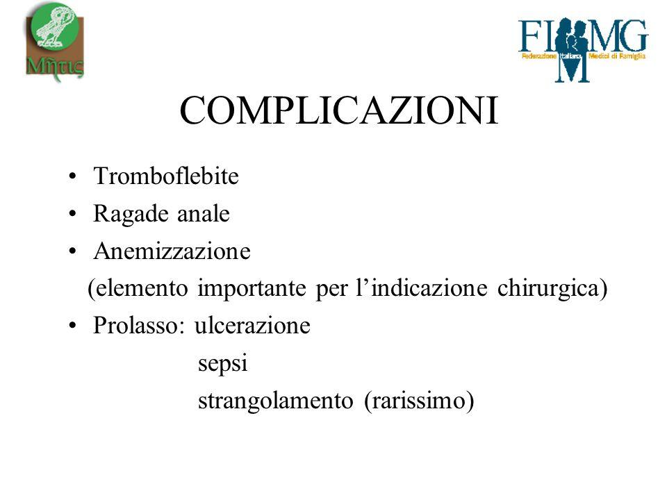 COMPLICAZIONI Tromboflebite Ragade anale Anemizzazione