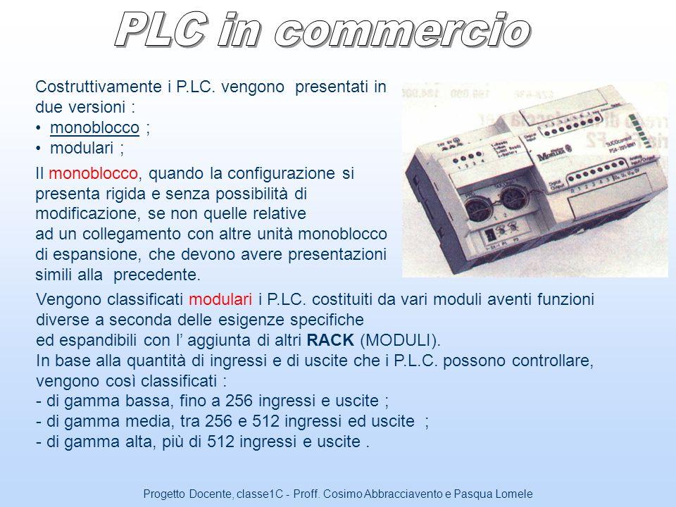 PLC in commercio Costruttivamente i P.LC. vengono presentati in due versioni : monoblocco ; modulari ;