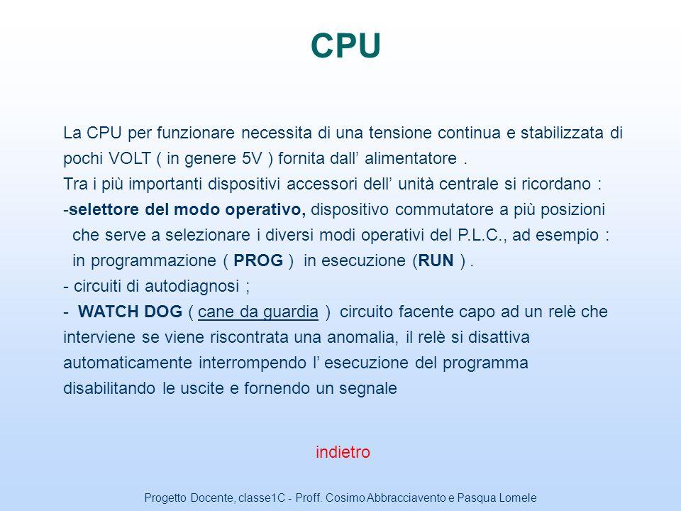 CPU La CPU per funzionare necessita di una tensione continua e stabilizzata di pochi VOLT ( in genere 5V ) fornita dall' alimentatore .