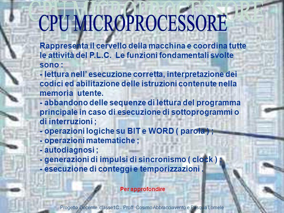 CPU MICROPROCESSORE Rappresenta il cervello della macchina e coordina tutte le attività del P.L.C. Le funzioni fondamentali svolte sono :