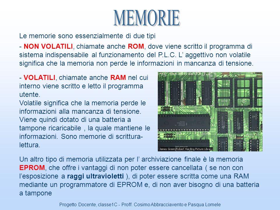 MEMORIE Le memorie sono essenzialmente di due tipi