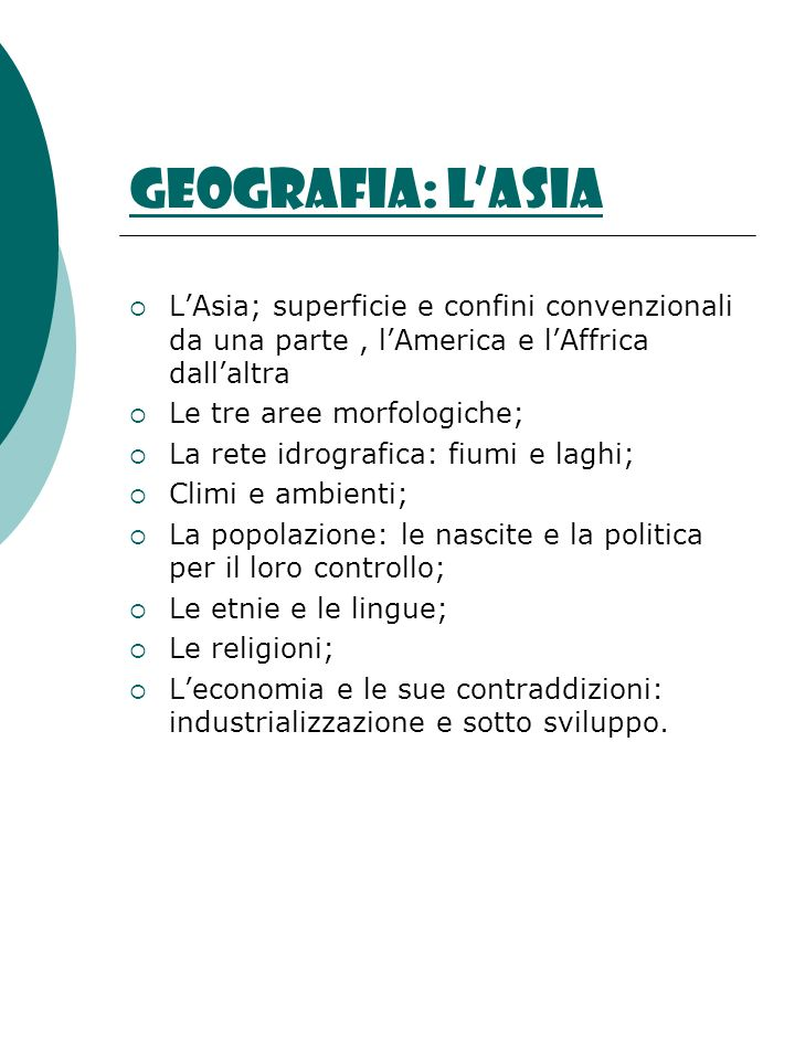 Geografia: l'AsiaL'Asia; superficie e confini convenzionali da una parte , l'America e l'Affrica dall'altra.