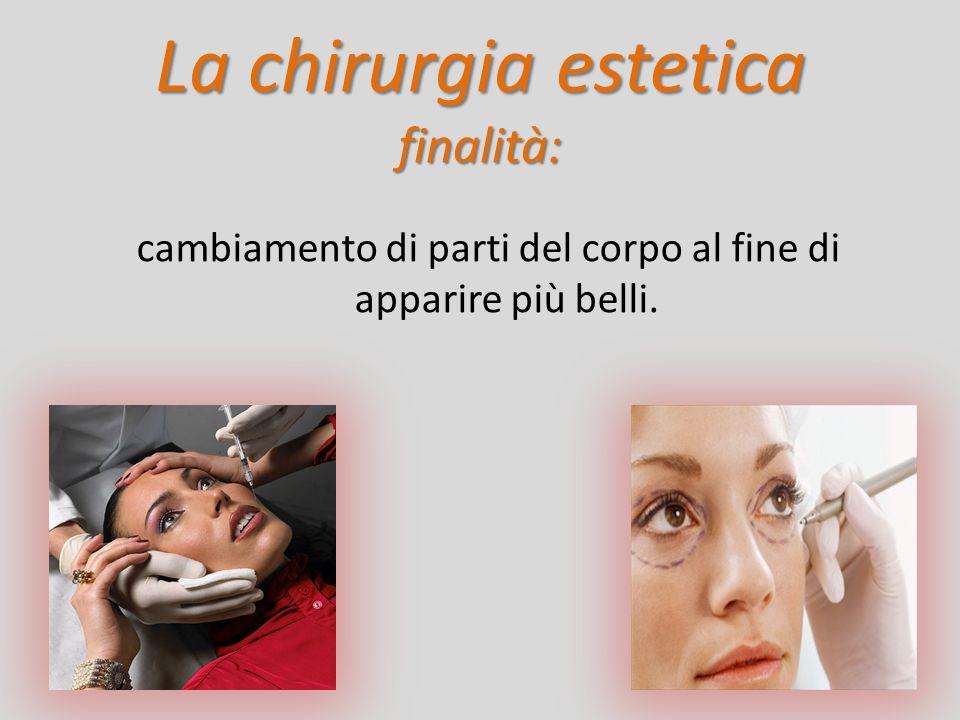 La chirurgia estetica finalità: