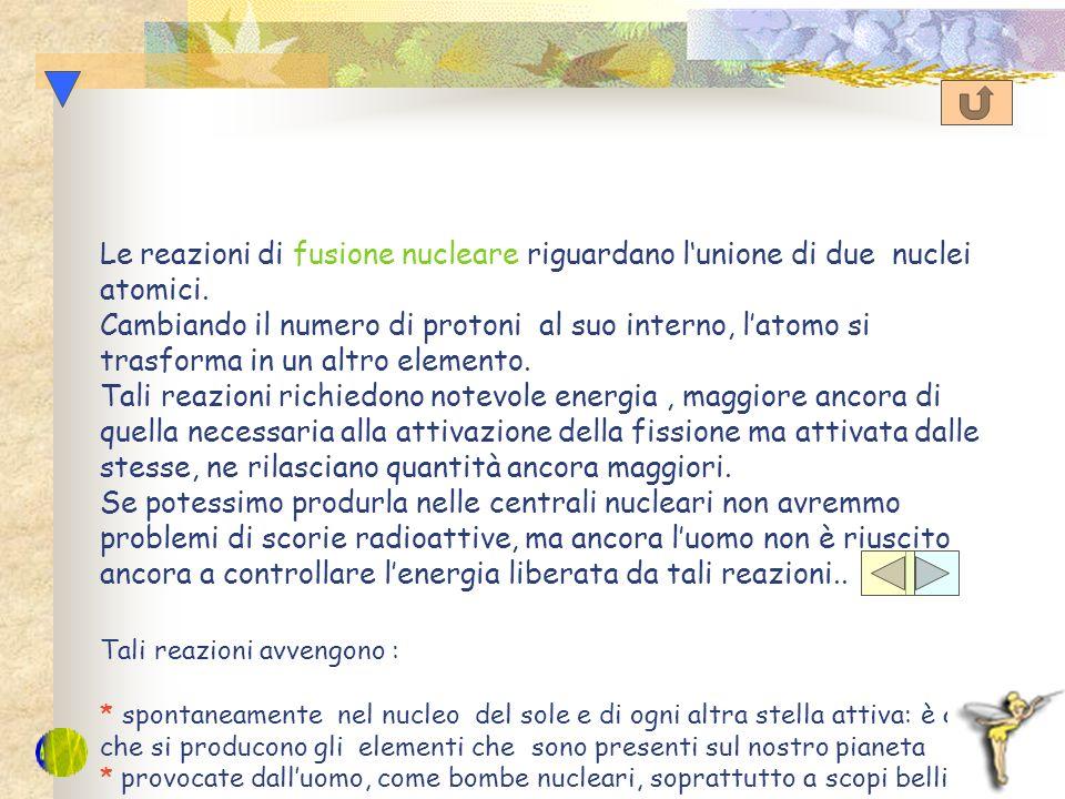 Le reazioni di fusione nucleare riguardano l'unione di due nuclei atomici.