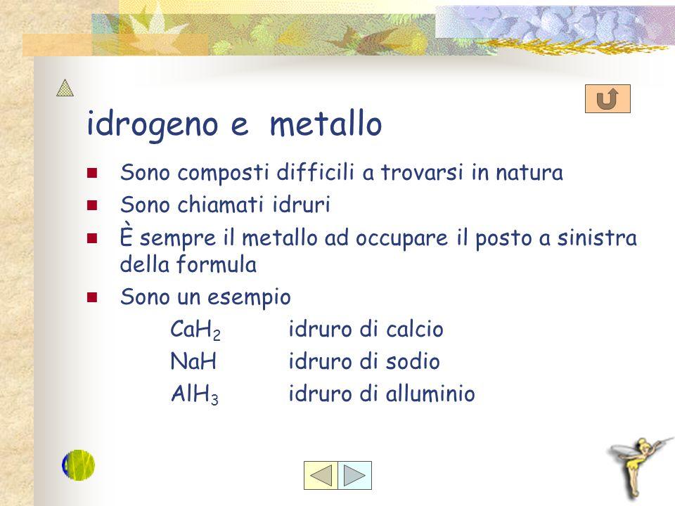 idrogeno e metallo Sono composti difficili a trovarsi in natura