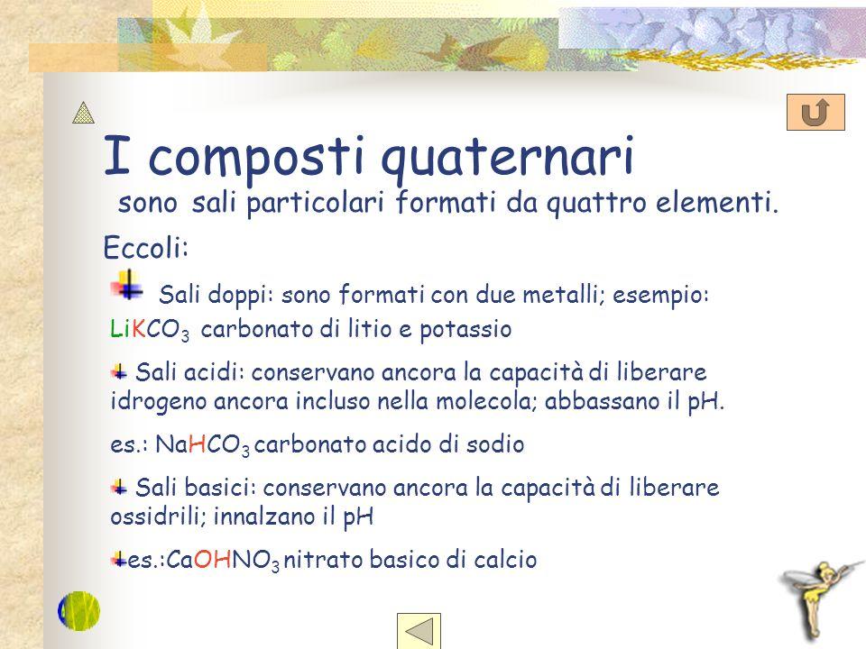 I composti quaternari sono sali particolari formati da quattro elementi. Eccoli: