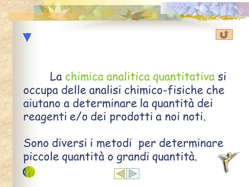 La chimica analitica quantitativa si occupa delle analisi chimico-fisiche che aiutano a determinare la quantità dei reagenti e/o dei prodotti a noi noti.