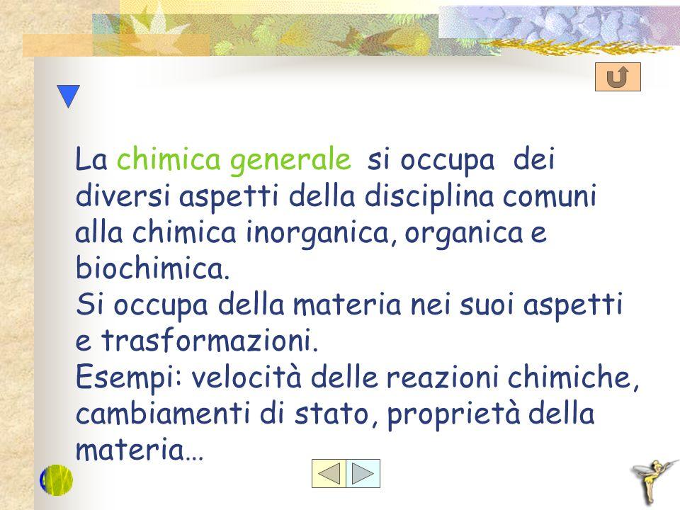 La chimica generale si occupa dei diversi aspetti della disciplina comuni alla chimica inorganica, organica e biochimica.