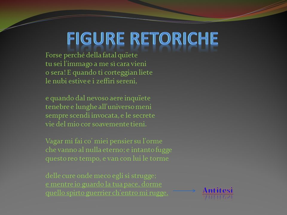 FIGURE RETORICHE Antitesi
