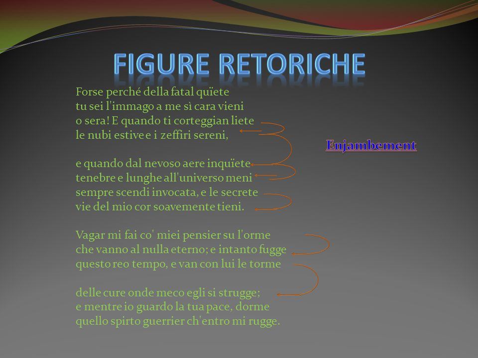 FIGURE RETORICHE Enjambement